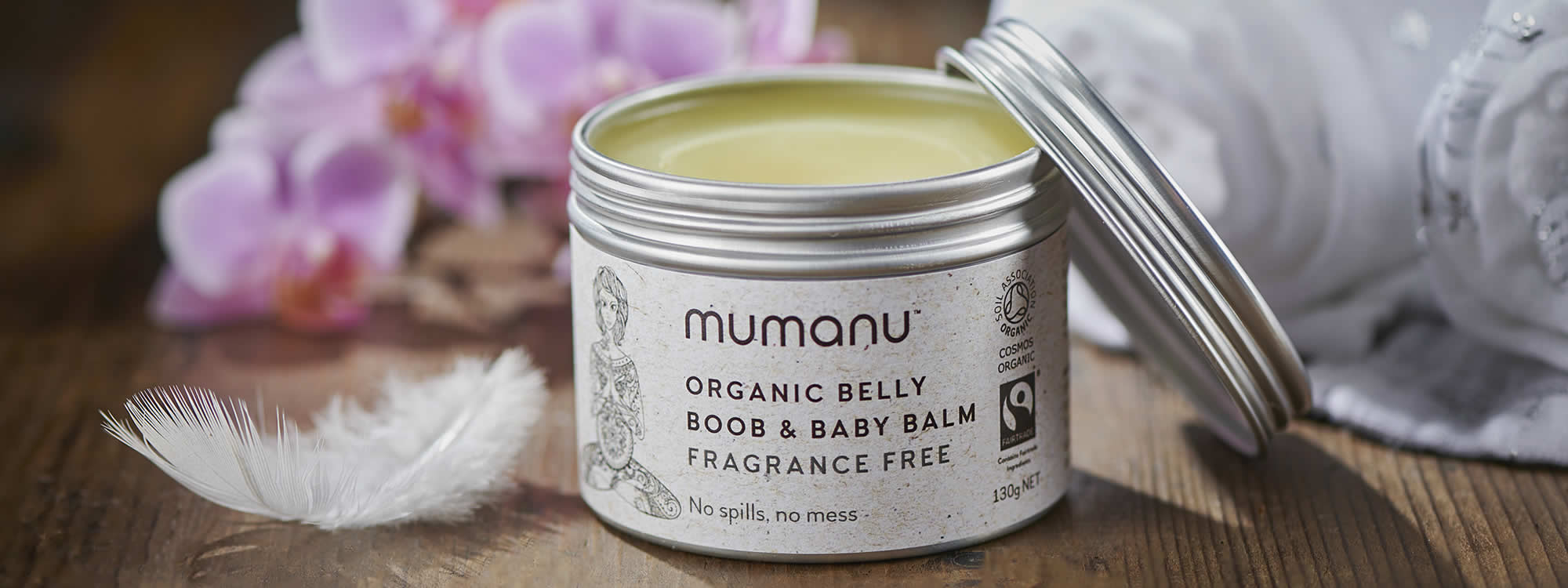 Mumanu Organic Belly, Boob & Baby Balm - Nappy Rash Cream - Cradle Cap Cream - Stretchmark Oil