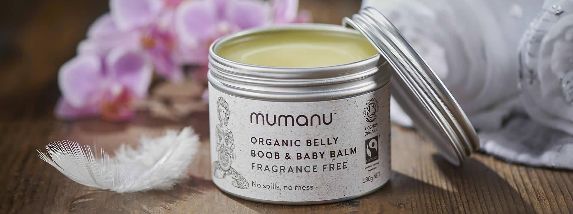 Mumanu Organic Belly, Boob & Baby Balm - Nappy Rash Cream - Cradle Cap Cream - Stretchmark Oil