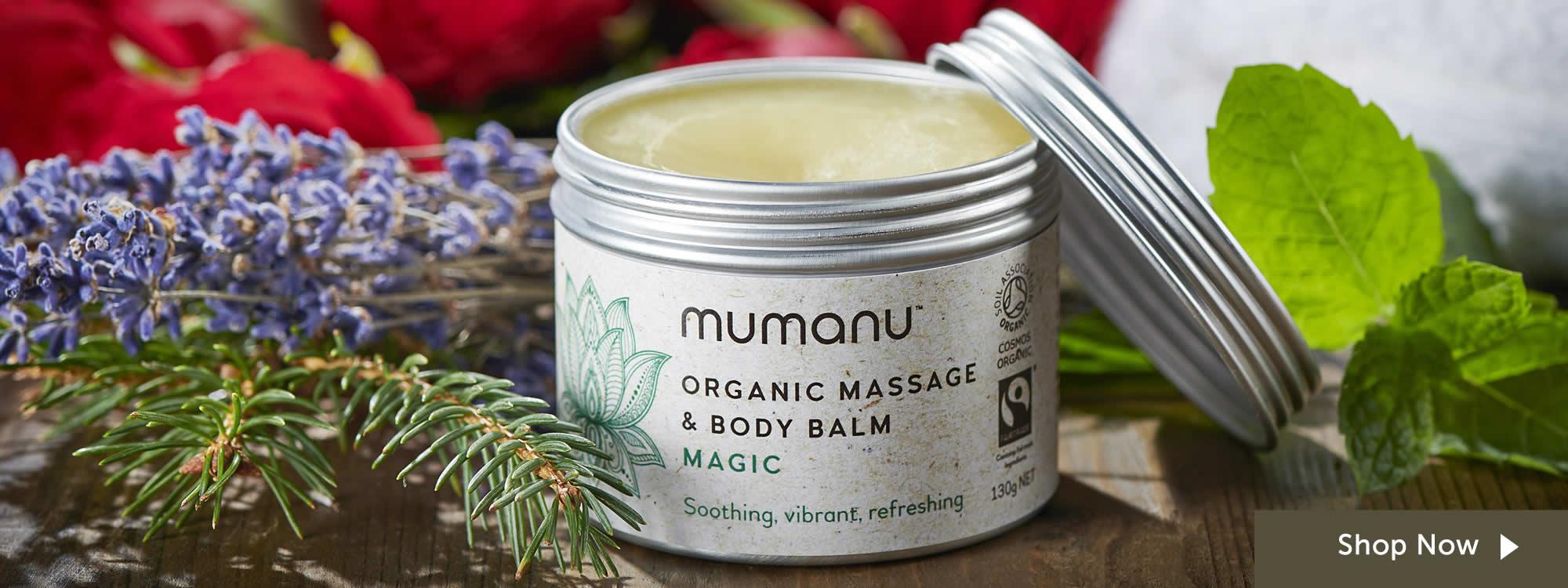 Mumanu Organic Massage Oil & Body Balm Aromatherapy Blend - Shea Moisturiser & Ethcial Skin Care - With Fairtrade Ingredients