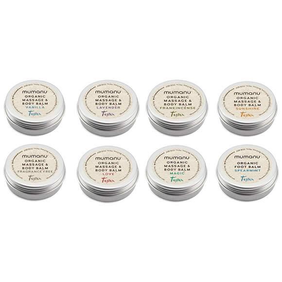 Mumanu Organic Massage Oil & Body Balm - Aromatherapy Shea Moisturiser With Fairtrade Ingredients - Skin Care Samples