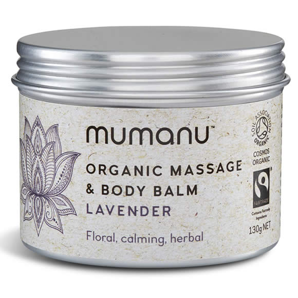 Mumanu Organic Massage Oil & Body Balm With Lavender Oil - Shea Moisturiser & Ethcial Skin Care - With Fairtrade Ingredients