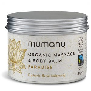 Mumanu Organic Massage Oil Balm - Paradise - With Jasmine Oil & Fairtrade Ingredients