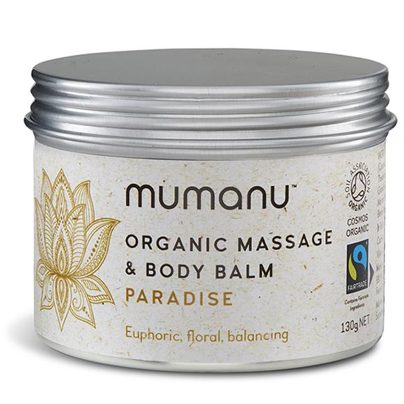 Mumanu Organic Massage Oil Balm - Paradise - With Jasmine Oil & Fairtrade Ingredients